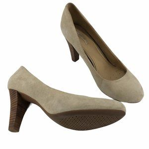 Geox Tan round toe Leather Suede Heel Pumps